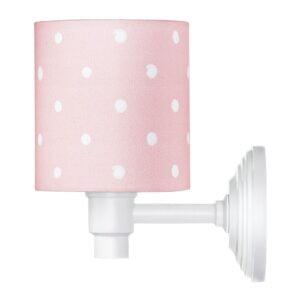 Różowy kinkiet w kropki do pokoju dziecka