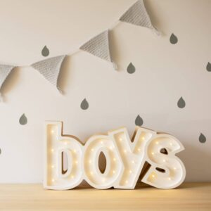 Lampka z napisem boys
