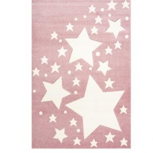 Różowy dywan z gwiazdkami do pokoju dziecka