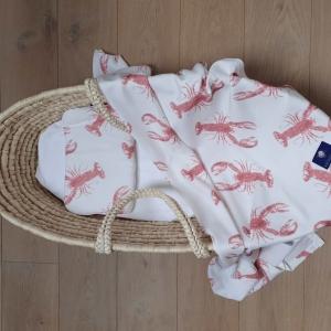 Zestaw duża poduszka i otulacz pink lobster