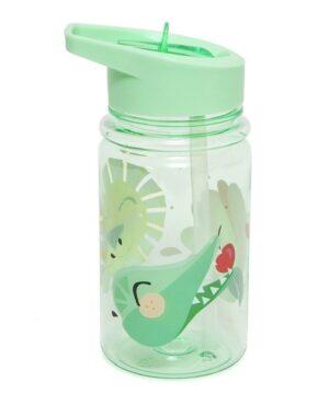 petit monkey bidon transparentny ze skladanym ustnikiem i slomka lew papuga i krokodyl mint pastel 2 300x360 - Bidon dla dzieci z ustnikiem i słomką