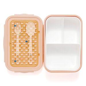 Śniadaniówka ze sztućcami dla dziecka brzoskwiniowa