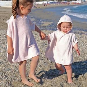 Ręcznik bambusowy dla dzieci poncho różowy