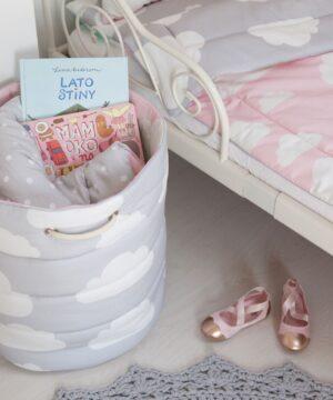 rQippJPA 300x360 - Kosz na zabawki chmurki różowy