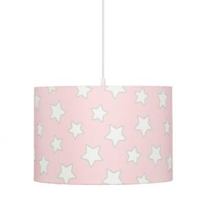 Różowa wisząca lampa w gwiazdki