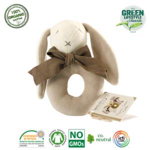 Grzechotka organiczna Bunny Ring beż