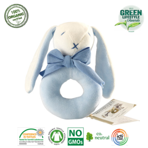 Grzechotka organiczna Bunny Ring niebieski