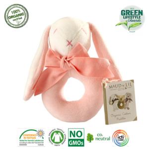Grzechotka organiczna Bunny Ring różowa