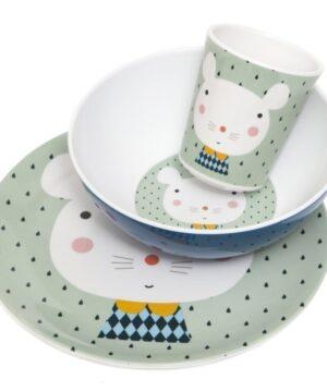 petit monkey miseczka z melaminy myszka i kropki 3 1 300x360 - Talerz dla dziecka myszka i kropki