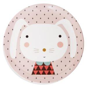 Talerz dla dziecka królik i kropki