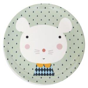 Talerz dla dzieci myszka i kropki