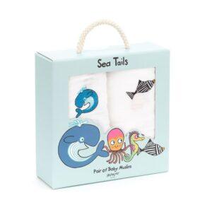 Muślinowe pieluszki morskie kpl