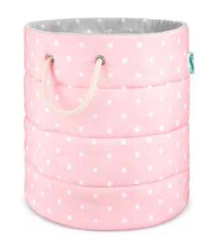 Kosz na zabawki różowy w kropki