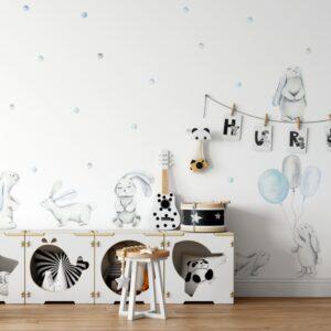 Naklejki na ścianę niebieskie króliczki DK393
