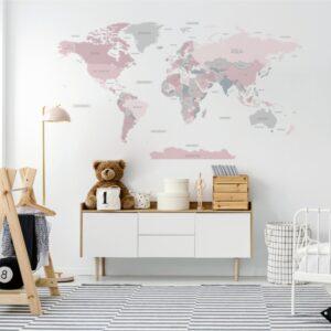 Naklejka różowa mapa świata DK345