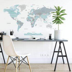 Naklejka mapa świata DK346