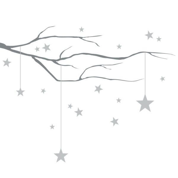 Naklejka na ścianę gałąź z gwiazdkami