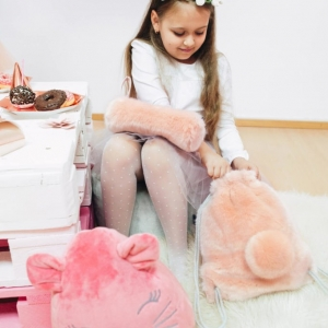 Piórnik przedszkolny różowe futerko