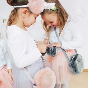 Dziewczęca futerkowa torebka różowa
