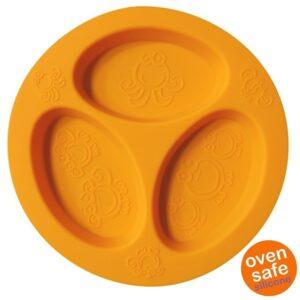 Silikonowy talerzyk trójdzielny pomarańczowy