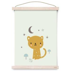 Plakat dziecięcy kotek Leopard miętowy