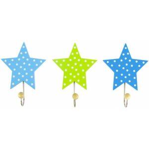 Wieszaki zielono niebieskie gwiazdki 3 szt