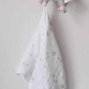Muślinowa pieluszka z szarym jednorożcem