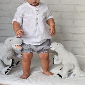 Pluszowy dinozaur Rex szary L