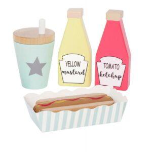 Drewniana zabawka zestaw hot dog