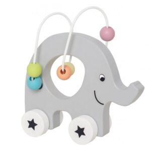Uroczy słonik na kółkach mini labirynt skandynawskiej marki Jabadabado to świetna przeplatanka, labirynt idealna zabawka drewniana dla najmłodszych