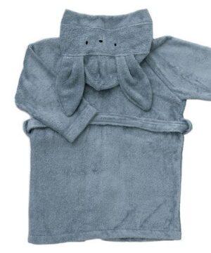 Szlafrok dziecięcy z kapturkiem niebieski 2-4l