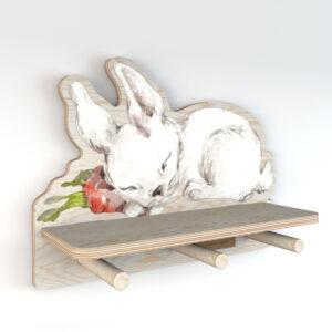 DEKO.WOOD .027 left 300x300 - Półka do pokoju dziecięcego króliczek