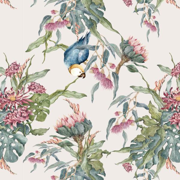 Kopia DEKO.TAP .006 950x950 600x600 - Tapeta na ścianę papuga i kwiaty