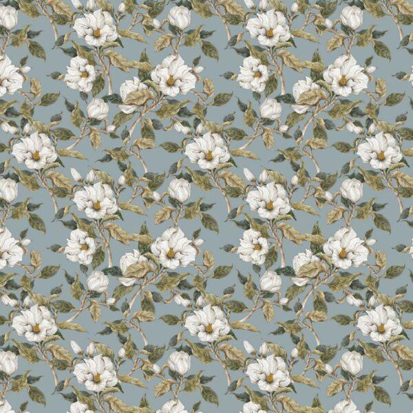 Tapeta na ścianę niebieska w kwiaty