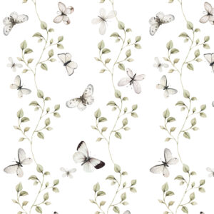 Tapeta na ścianę motyle i rośliny