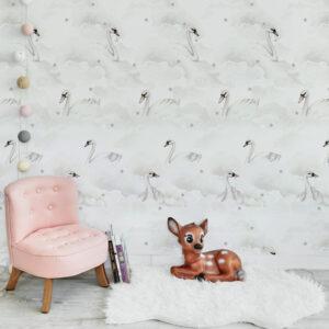 Tapeta na ścianę łabędzie w chmurach