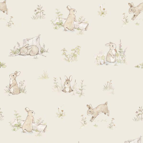 Tapeta na ścianę króliczki beżowe