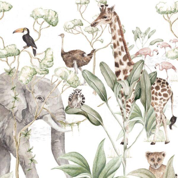 Tapeta dziecięca zwierzęta Savanna