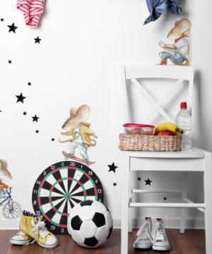 Naklejki na ścianę Myszki to siedemcudownych, wesołych zabieganych zwierzaczków z ulicy Mysiej. Zwierzaczków szczęśliwych i żyjących w harmonii.