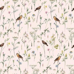 Tapeta dla dzieci meadow with birds pastel
