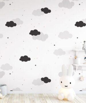 Tapeta dla dzieci chmurki i różowe gwiazdki
