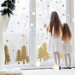 Naklejki świąteczne choinki i gwiazdki SW020