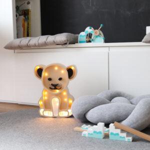 Lampka dla dzieci led lew beżowy