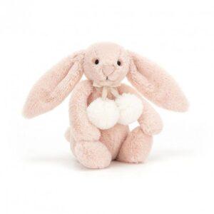 Przytulanka króliczek z pomponikami 18 cm