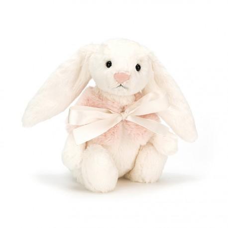 Przytulanka króliczek z narzutką 18 cm