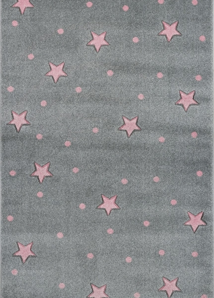 Dywan dziecięcy galaxy szary w różowe gwiazdki