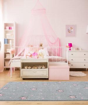 24358 kinderteppich kids love rugs heaven silbergrau rosa 4 1 300x360 - Dywan dziecięcy galaxy szary w różowe gwiazdki