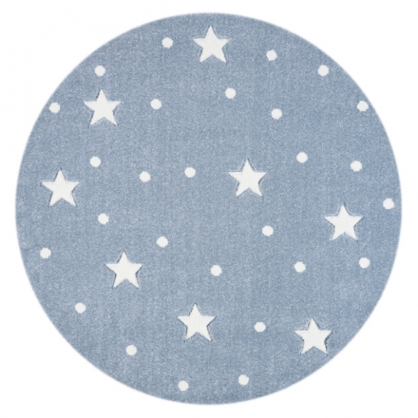 Dywan dziecięcy okrągły niebieski galaxy