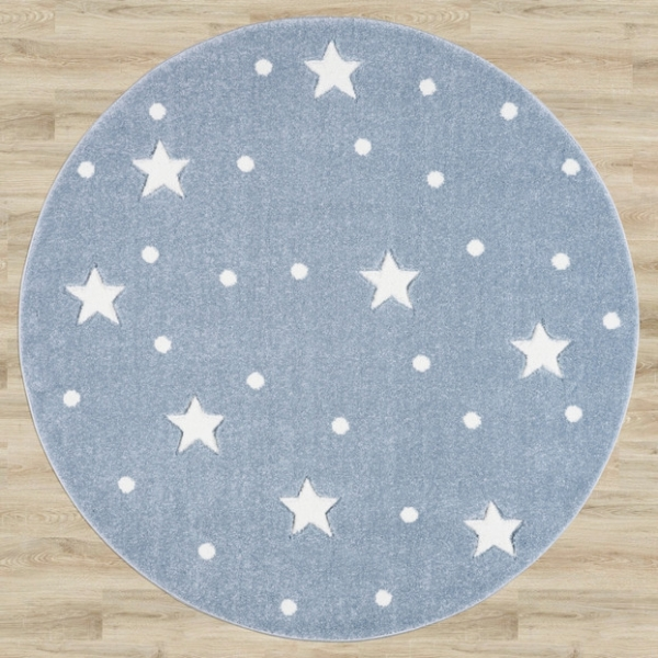 26982 galaxy okragly blue white 2 600x600 - Dywan dziecięcy okrągły niebieski galaxy