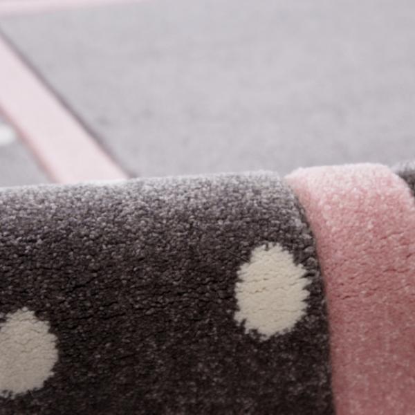 19650 kinderteppich happy rugs point silbergrau rosa 2 600x600 - Dywan dziecięcy szary w kropki